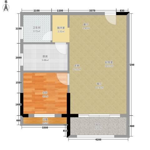 博雅公寓1室0厅1卫1厨78.00㎡户型图