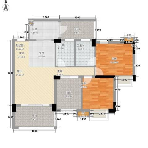 广州雅居乐花园浅山小筑2室0厅2卫1厨97.00㎡户型图