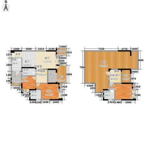 金海岸天府花园水城3室0厅3卫1厨191.04㎡户型图