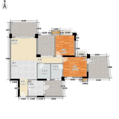 广州雅居乐花园浅山小筑2室0厅2卫1厨100.00㎡户型图
