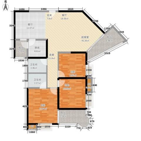 顺天黄金海岸3室0厅2卫1厨122.00㎡户型图