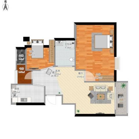 瑶溪凤凰城3室1厅1卫1厨101.00㎡户型图