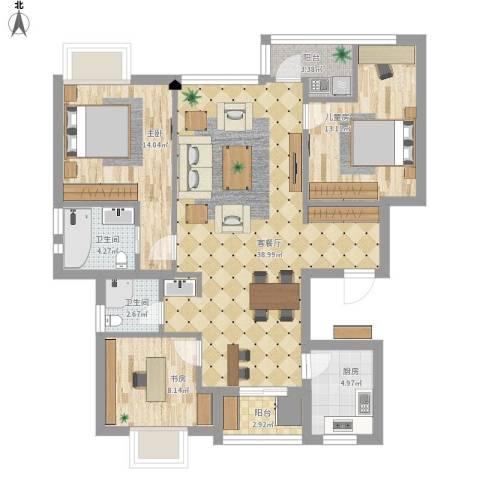 银河湾小区3室1厅2卫1厨133.00㎡户型图