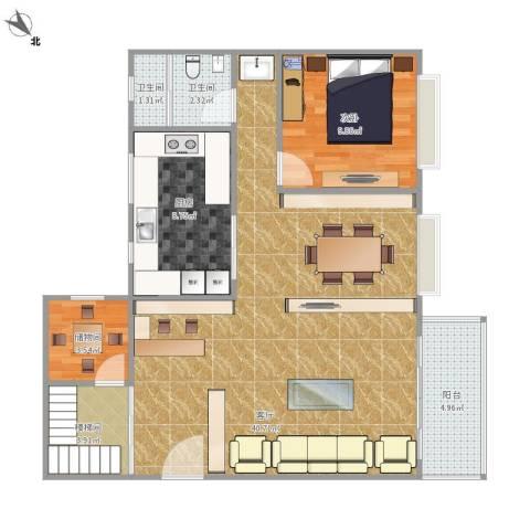 中澳新城翠湖居1室1厅2卫1厨101.00㎡户型图