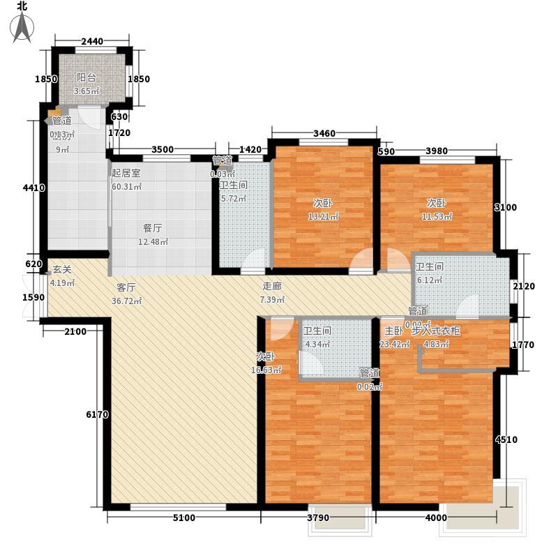 富力津门湖212.00㎡景尚嘉郡高层12号楼一单元户型4室2厅
