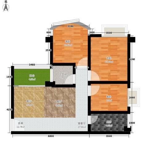 喜洋居3室1厅1卫1厨82.00㎡户型图