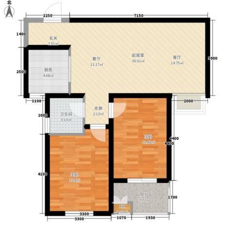 水木大兴2室0厅1卫1厨94.00㎡户型图