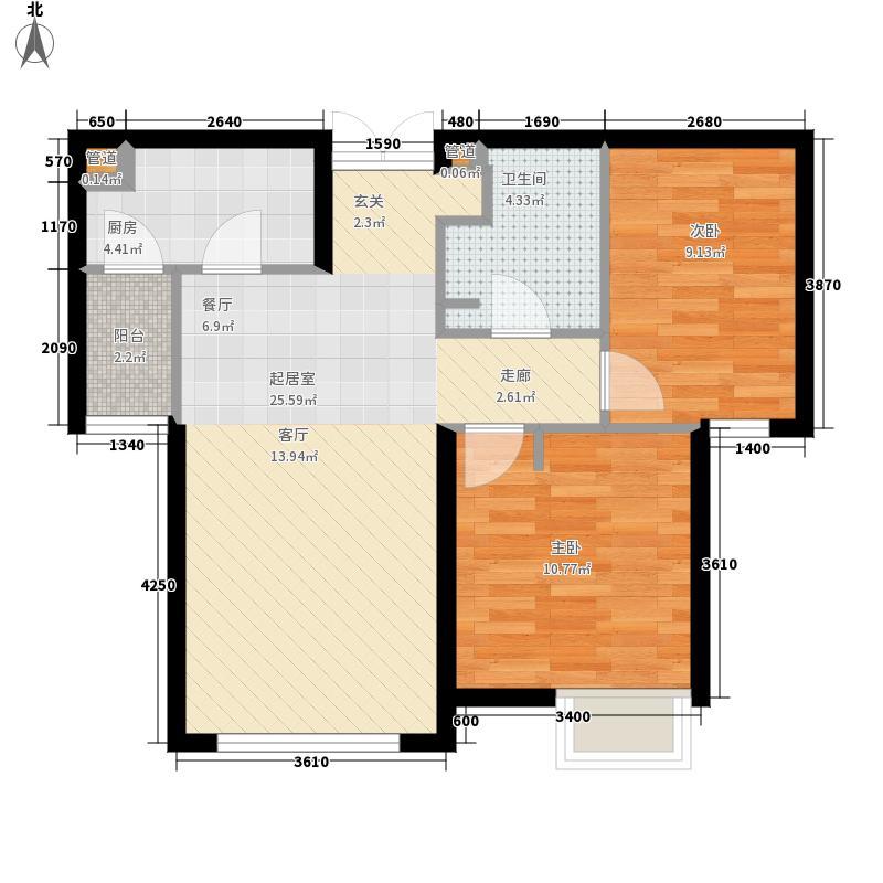富力津门湖88.11㎡4#江湾一单元02&二单元02两室户型2室2厅