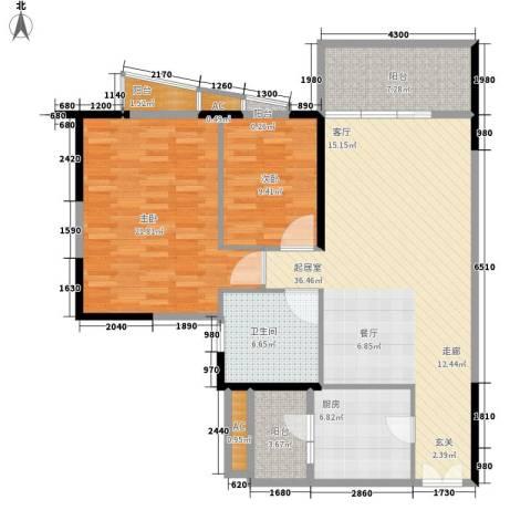 君汇世家2室0厅1卫1厨102.00㎡户型图