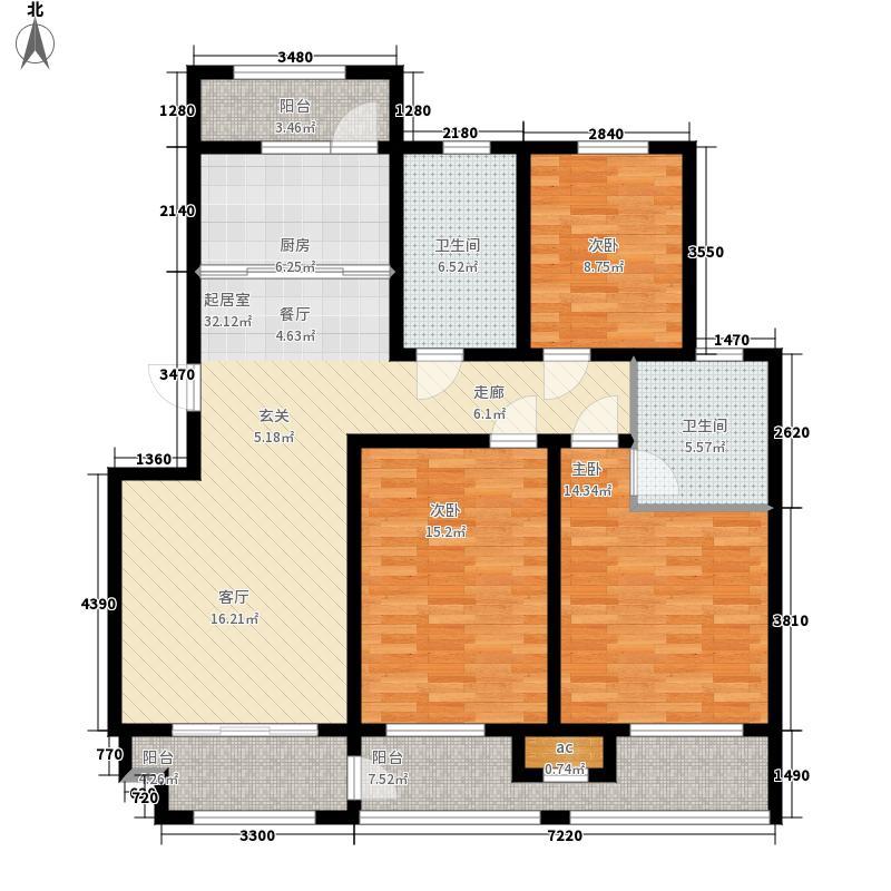 港城华府123.89㎡D户型3室2厅
