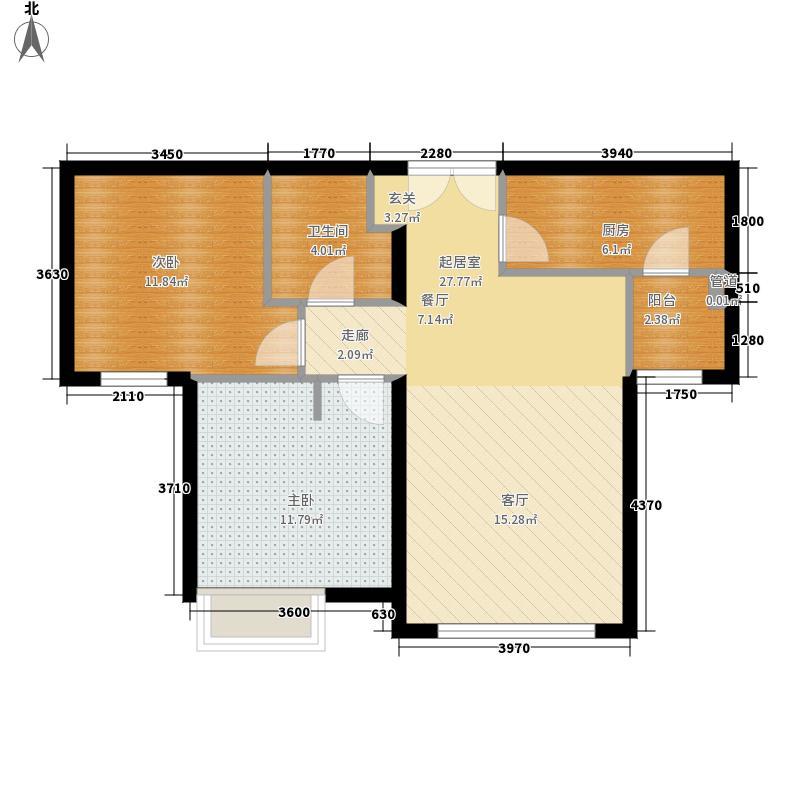 富力津门湖87.00㎡景尚嘉郡高层12号楼一单元户型2室2厅