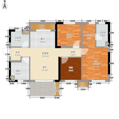 万科城市花园3室0厅2卫1厨90.00㎡户型图