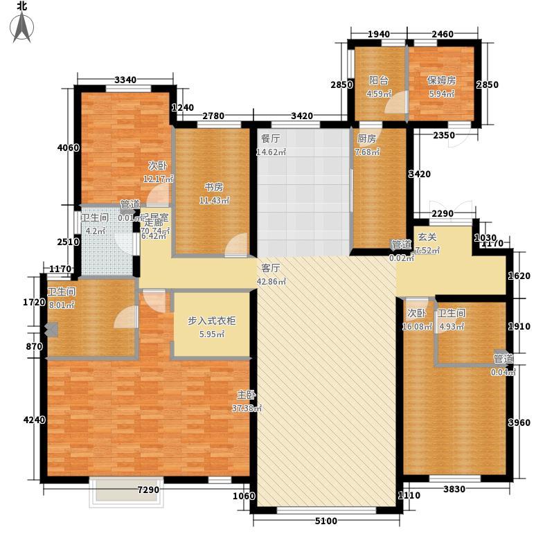 富力津门湖231.10㎡涵屿清溪2、3、4、号楼1单元01户五室户型5室2厅
