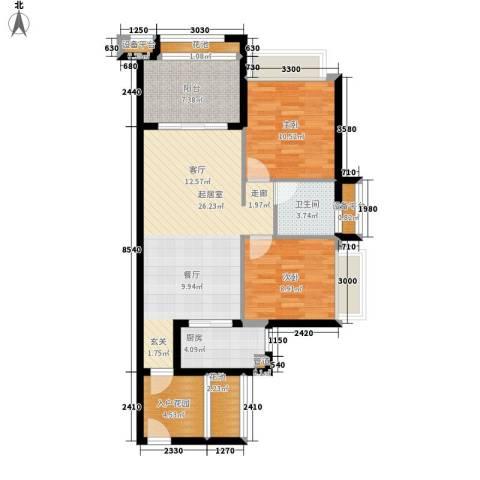 德盛南岛康城2室0厅1卫1厨86.00㎡户型图