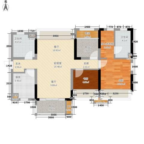 万科城市花园2室0厅2卫1厨90.00㎡户型图