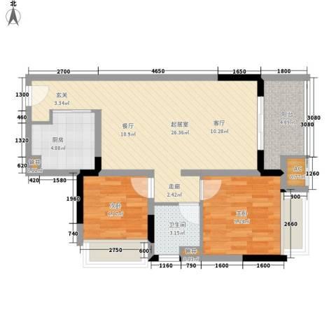 万科城市花园2室0厅1卫1厨75.00㎡户型图