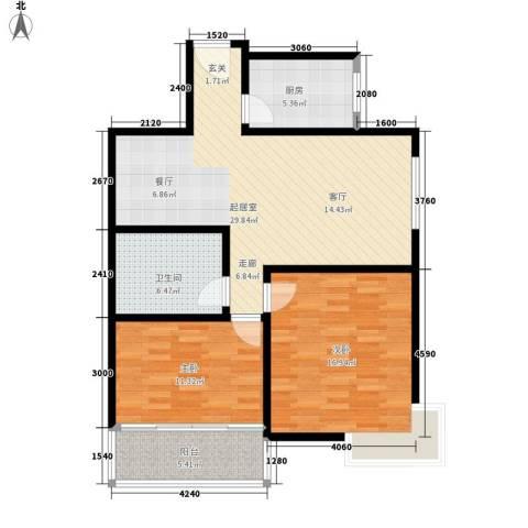 西城芳洲2室0厅1卫1厨95.00㎡户型图