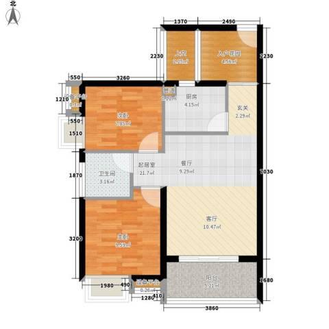 东方海岸2室0厅1卫1厨73.00㎡户型图