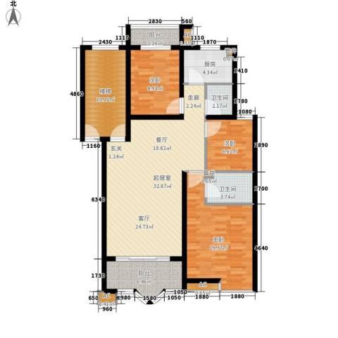 水木兰庭3室0厅2卫1厨110.00㎡户型图