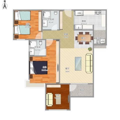 建发中央鹭洲3室1厅2卫1厨131.00㎡户型图