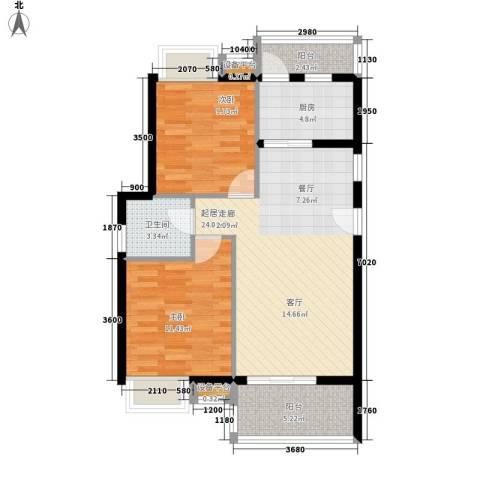 东方海岸2室0厅1卫1厨84.00㎡户型图