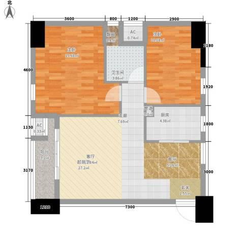 归心苑2室0厅1卫1厨95.00㎡户型图