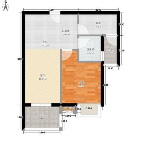 东方海岸1室0厅1卫1厨70.00㎡户型图