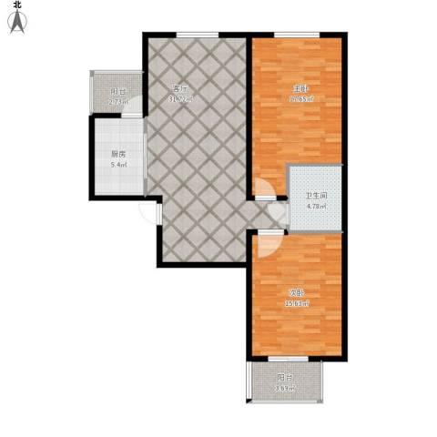 世贸天街2室1厅1卫1厨113.00㎡户型图