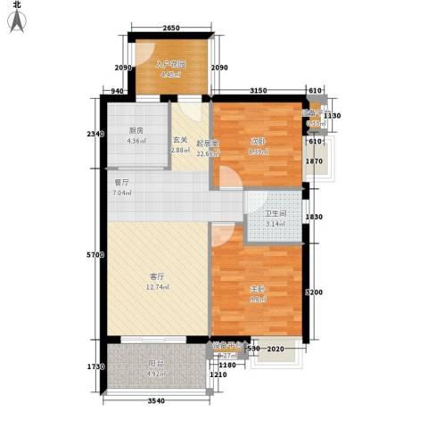 东方海岸2室0厅1卫1厨72.00㎡户型图