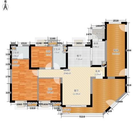 中海金沙湾3室1厅2卫1厨122.00㎡户型图