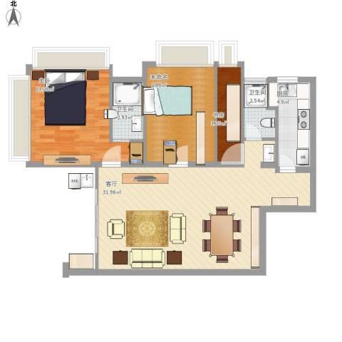 御沁园公寓2室1厅2卫1厨98.00㎡户型图