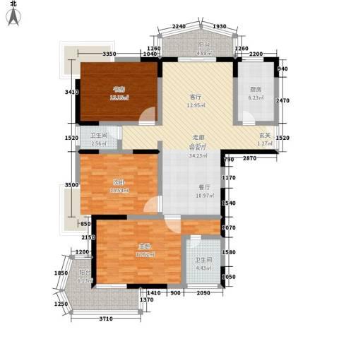 名仕嘉园3室1厅2卫1厨120.00㎡户型图