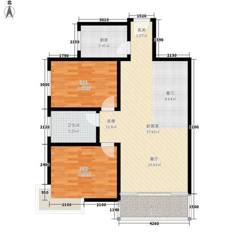 西城芳洲2室0厅1卫1厨99.00㎡户型图