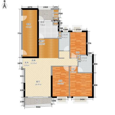 方圆月岛3室1厅2卫1厨140.00㎡户型图