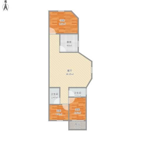 富丽公寓西区3室1厅2卫1厨78.00㎡户型图