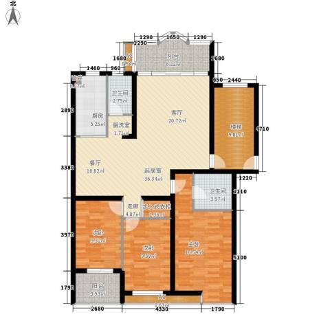 水木兰庭3室0厅2卫1厨124.00㎡户型图