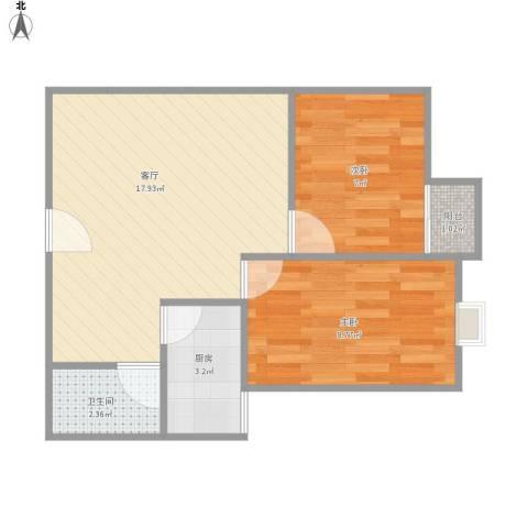 佘山假日半岛公寓2室1厅1卫1厨55.00㎡户型图