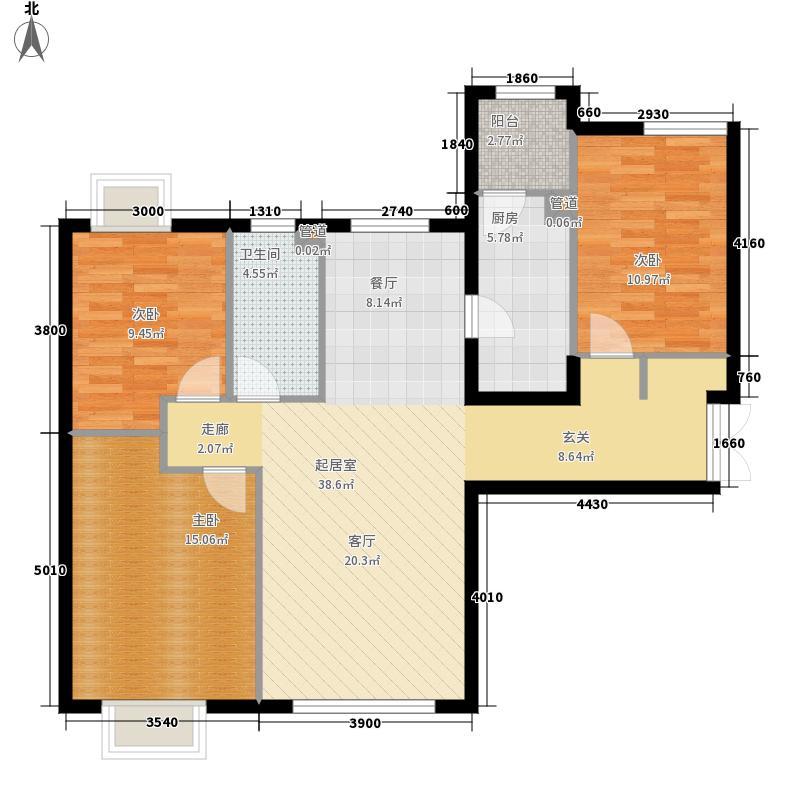 富力津门湖明泉11号楼01户型3室2厅
