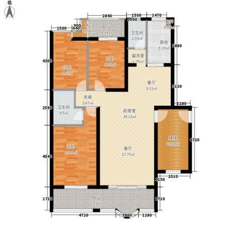水木兰庭3室0厅2卫1厨126.00㎡户型图