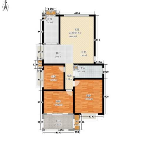 泰时・三湘金地3室0厅1卫1厨123.00㎡户型图