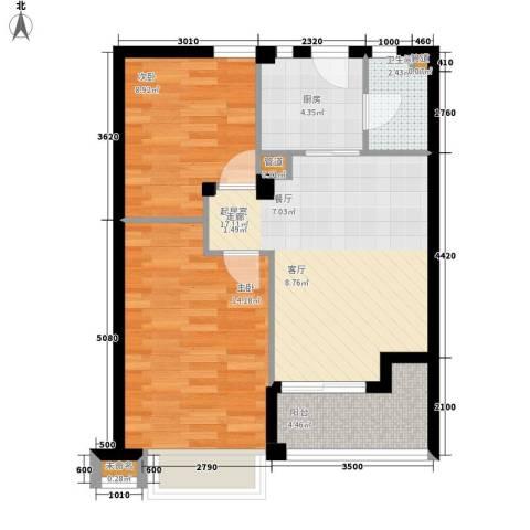 华亚海岛假日2室0厅1卫1厨68.00㎡户型图