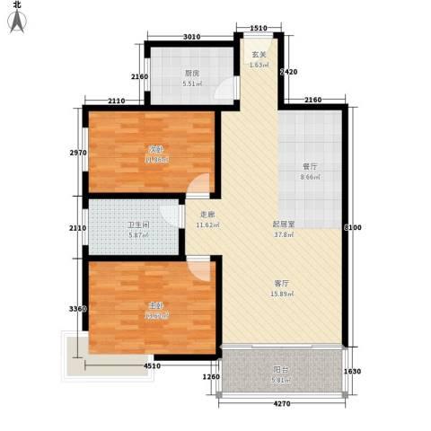 西城芳洲2室0厅1卫1厨102.00㎡户型图
