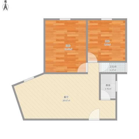 田林体育公寓2室1厅1卫1厨59.00㎡户型图