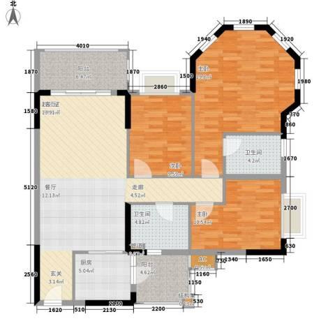 锦绣御景苑3室0厅2卫1厨113.00㎡户型图