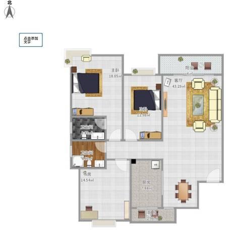 杨柳国际新城3室1厅2卫1厨189.00㎡户型图
