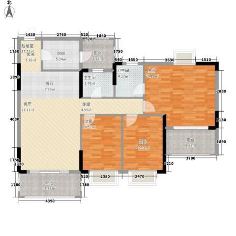 锦绣御景苑3室0厅2卫1厨123.00㎡户型图