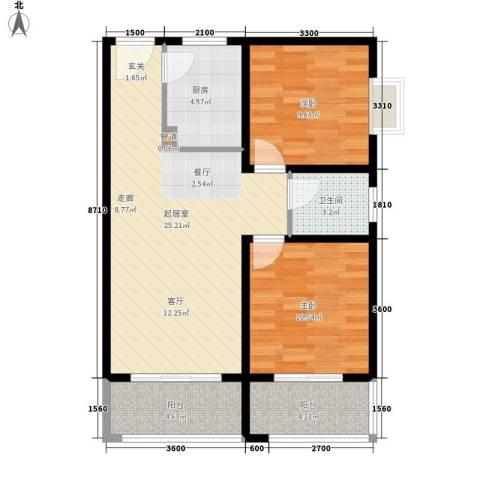 省直机关家属院2室0厅1卫1厨86.00㎡户型图