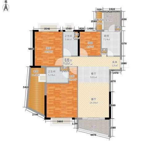 方圆月岛3室1厅2卫1厨146.00㎡户型图