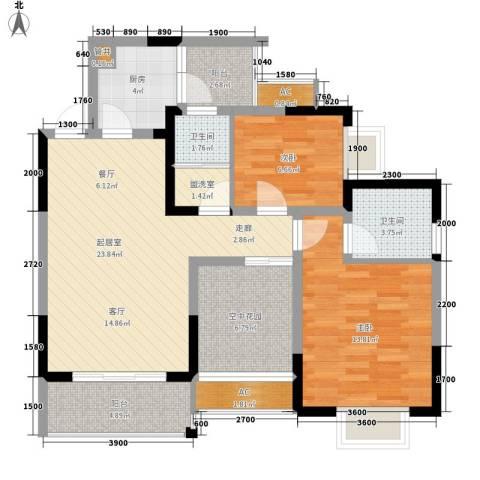 城郊涉外桃源2室0厅2卫1厨107.00㎡户型图