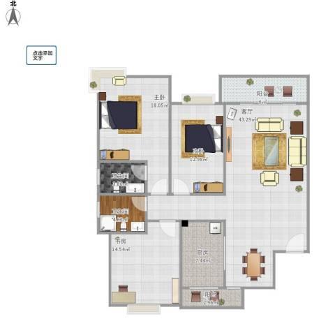 杨柳国际新城3室1厅2卫1厨152.00㎡户型图